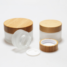 LanJing 2 oz Glass Cosmetic Jars with Bamboo Lids Glass Cream Jars