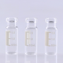 LanJing Clear Glass Crimp HPLC Vial with Label Chemical Reagent Bottle for Instrument